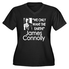 James Connolly Women's Plus Size V-Neck Dark T-Shi