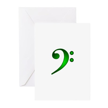 BassClefBigGreen5 Greeting Cards