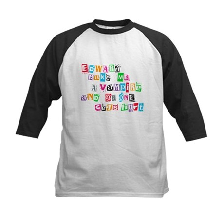 Edward Bite Me Twilight Kids Baseball Jersey