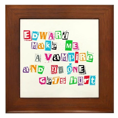 Edward Bite Me Twilight Framed Tile