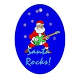 Santa Rocks Christmas Oval Ornament