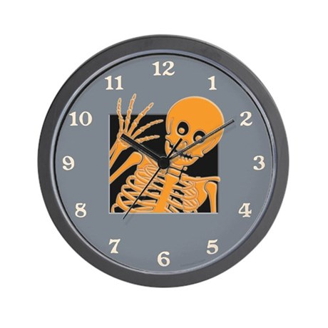 Grinning Skeleton Wall Clock