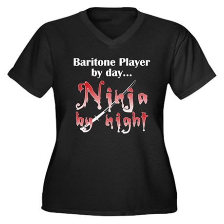 Baritone Ninja Women's Plus Size V-Neck Dark T-Shi