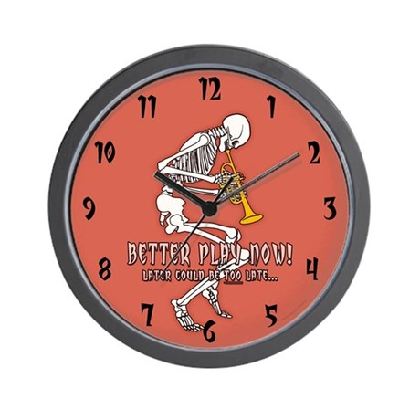 Trumpeter Skeleton Wall Clock