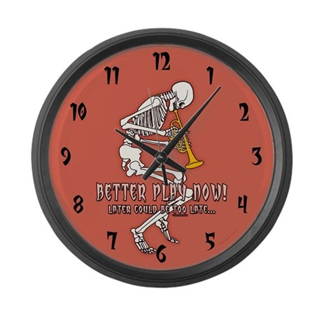 Trumpeter Skeleton Large Wall Clock