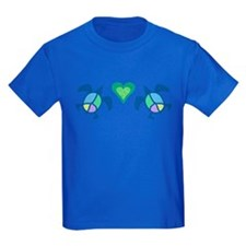 Peace Heart Sea Turtles Kids Dark T-Shirt