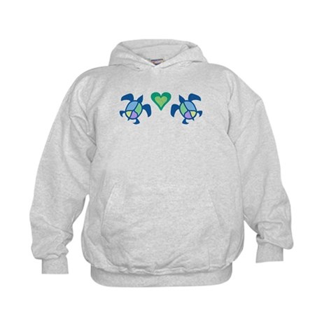 Peace Heart Sea Turtles Kids Hoodie