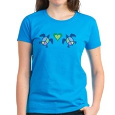 Peace Heart Sea Turtles Women's Dark T-Shirt