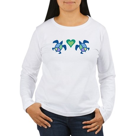Peace Heart Sea Turtles Women's Long Sleeve T-Shir