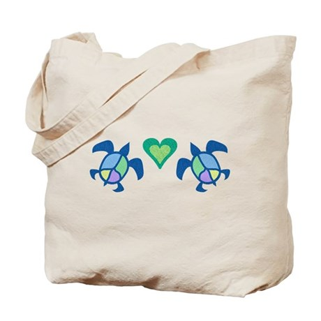 Peace Heart Sea Turtles Tote Bag