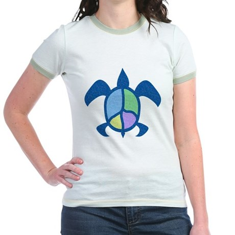 Peace Sea Turtle Jr. Ringer T-Shirt