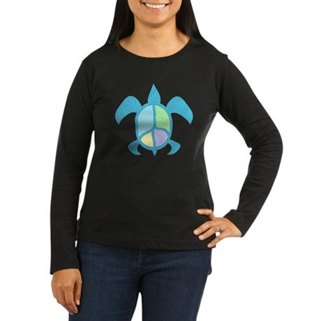 Peace Sea Turtle Women's Long Sleeve Dark T-Shirt
