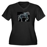 Night Horse Women's Plus Size V-Neck Dark T-Shirt