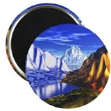 3D Metal Mountains Magnet