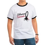 Melanoma Survivor Frayed Ribbon T
