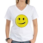 Smiley Face - Evil Grin Women's V-Neck T-Shirt