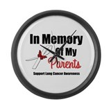 In Memory Parents Lung Cancer Large Wall Clock
