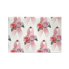 Breast Cancer Ribbon & Roses Rectangle Magnet (10
