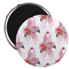 "Breast Cancer Ribbon & Roses 2.25"" Magnet (100 pac"