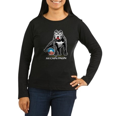Pitbull Pee Obama Logo Women's Long Sleeve Dark T-