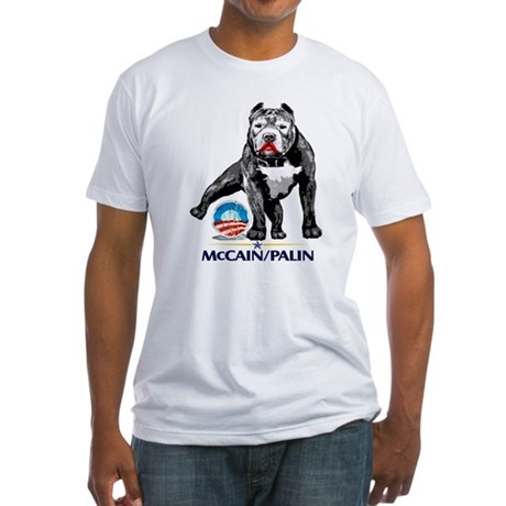 Pitbull Pee Obama Logo Fitted T-Shirt