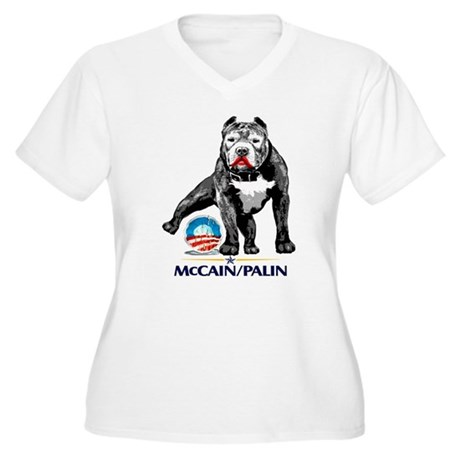 Pitbull Pee Obama Logo Women's Plus Size V-Neck T-