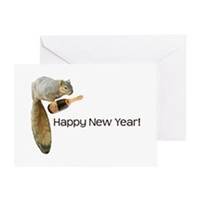 Happy New Year Squirrel Greeting Card