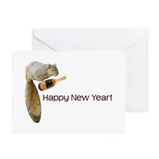Happy New Year Squirrel Greeting Cards (Pk of 10)