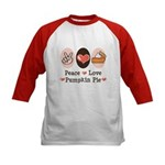 Peace Love Pumpkin Pie Kids Baseball Jersey