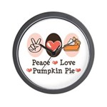 Peace Love Pumpkin Pie Wall Clock