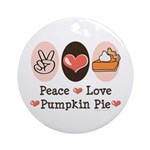Peace Love Pumpkin Pie Ornament (Round)