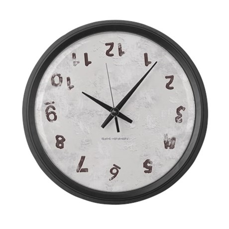 Upside Down Grunge Large Wall Clock
