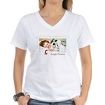 Christmas Gift Dreams (Front) Women's V-Neck T-Shi