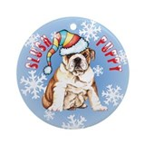 Holiday Bulldog Ornament (Round)