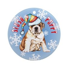 Holiday Bulldog Ornament (Round)