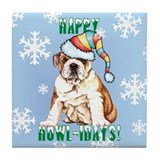 Holiday Bulldog Tile Coaster