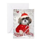 Shih Tzu Santa Paws Greeting Card