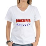Retired Zookeeper Women's V-Neck T-Shirt