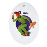 Elfis Elvis Presley Christmas Oval Ornament