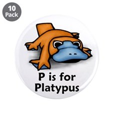 "P is for Platypus 3.5"" Button (10 pack)"