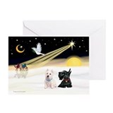 XmasDove/Westie & Scotty Greeting Card