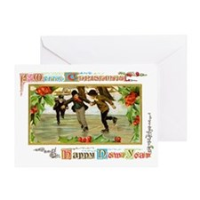 Christmas Ice Skating Scene Greeting Card