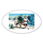 Christmas Tree Children Oval Sticker