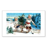 Christmas Tree Children Rectangle Sticker