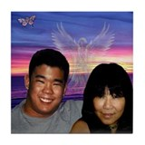 Priscilla & Matt - Blue Sunset Tile Coaster
