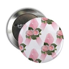 "Breast Cancer Ribbon & Roses 2.25"" Button (10 pack"