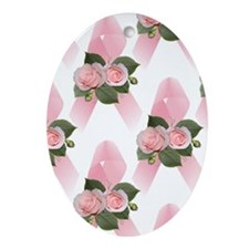 Breast Cancer Ribbon & Roses Keepsake (Oval)