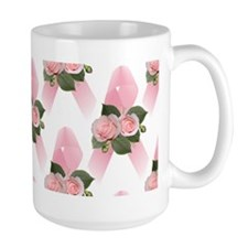 Breast Cancer Ribbon & Roses Mug
