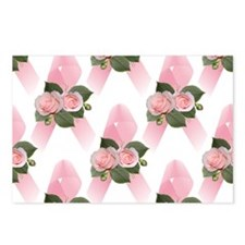Breast Cancer Ribbon & Roses Postcards (Package of