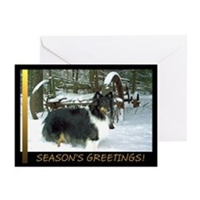 Winter Wagon Sheltie Greeting Cards (Pk of 10)
